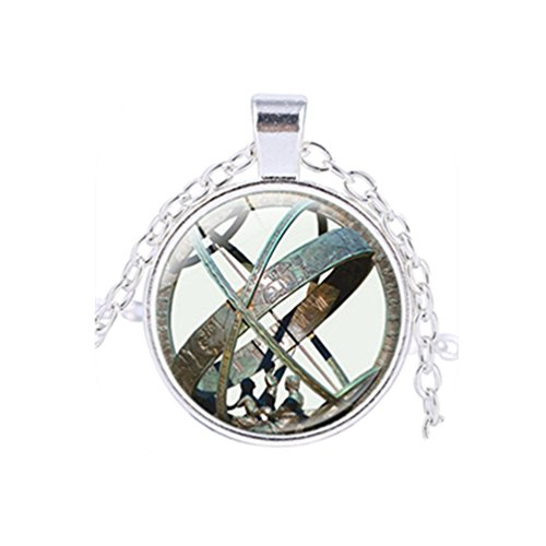 Sun Silver Dial (Astronomical Sundial Globe Pendant Astronomy Necklace Astrological Vintage Astronomy Science Jewelry (Silver))