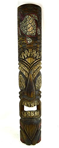 40 In Turtle Tiki Bar Mask Hand Carved Island Decor ()