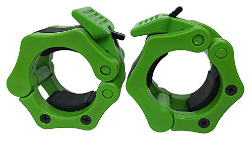 Quick Release Pair of Locking 2' Olympic Size Barbell Clamp Collar Great for Pro Training by Clout Fitness (Green)
