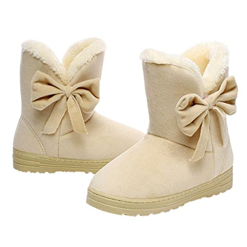 Dear Time Women Boots Solid Bowtie Slip-On Soft Cute with Round Toe Beige US 5/US 5.5