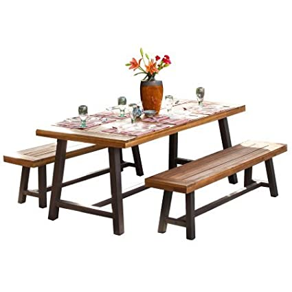 rustic outdoor dining sets mediterranean style noble house diego rustic metal 3piece outdoor dining set amazoncom