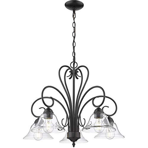 Golden Lighting 8606-D5-BLK-CLR Homestead 5 Light 25 inch Black Nook Chandelier Ceiling Light