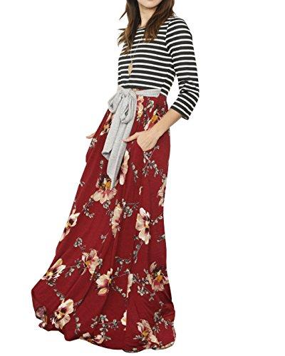 Bigyonger Des Femmes De Manches Rayé Floral Maxi Nouée À La Taille D'impression Longue Robe Avec Des Poches De 1 Vin