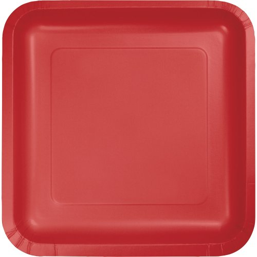 18-Count Touch of Color Square Paper Dinner Plates, Classic Red ()