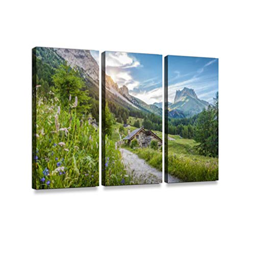 Alpine Scenery in The Dolomites with Mountain chalets at Sunset in summerPrint On Canvas Wall Artwork Modern Photography Home Decor Unique Pattern Stretched and Framed 3 Piece