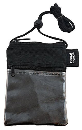 Neck Wallet with 3 Pockets, Pen Holder and Adjustable Cord (Black)