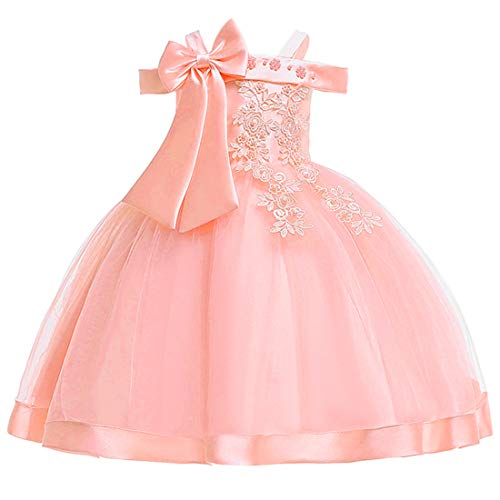 Girls Dresses 3T Dresses for Girl Pink Flower Formal Pageant Dress for Girl 3 4 Years Old Sleeveless Lace Ruffle Halter Tutu Dress for Kids Wedding Birthday Party Dress Size ()