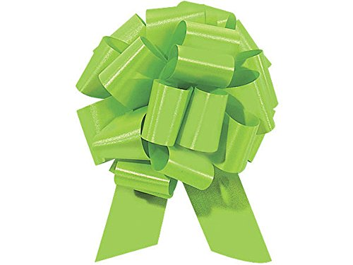 Lime Green Citrus Pull String Bows - 8 Inch Wide 20 Loops Large (2 and 1/2 Inch Ribbon) Set of 10