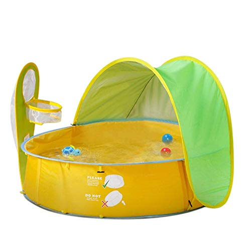Eleovo Baby Beach Tent, 3 in 1 Pop Up Baby Pool for Baby, UV Protection Sun Shelters, Portable Kids Ball Pit Play Tent Indoor Outdoor, Swim Party Toys, Baby Paddling Pool with Mini Basketball Hoop