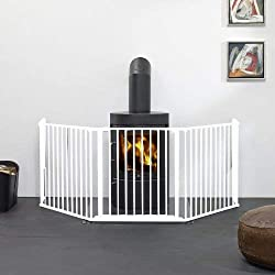 Safety Gate Fireplace Fence Hearth Guard for Baby Pet Dog Cat BBQ Metal Fire Gate Protection Fireguard 5 Sides(White)