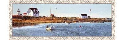 (Framed Goat Island Light I- 36x12 Inches - Art Print (White Wash Frame))