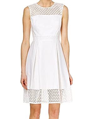 Women's Petite Sleeveless Crocheted A-Line Dress