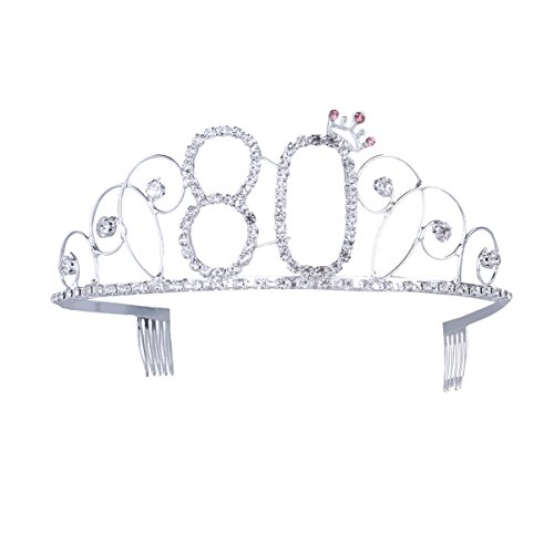 Frcolor 80th Birthday Tiara Crystal Rhinestone Women 80th Birthday Crown with Combs -