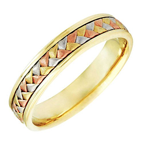 18K Tri Color Gold Braided Basket Weave Women's Comfort Fit Wedding Band (5.5mm) Size-6.5c1