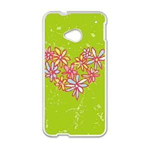 HTC One M7 Cell Phone Case White Daisy Heart JNR2288161