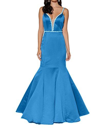 Charmant Damen Traeger Abendkleider Zwei Etuikleider Blau Blau Lang Festlichkleider Satin Brautmutterkleider qqBxr4O