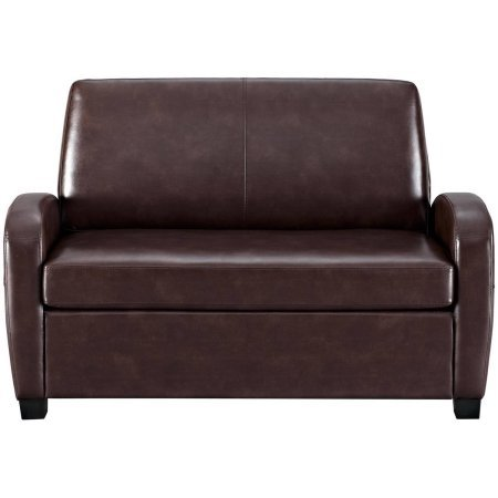Alex's New Sofa Sleeper Black convertible couch loveseat chair leather bed mattress (Brown) (Alex Sofa)
