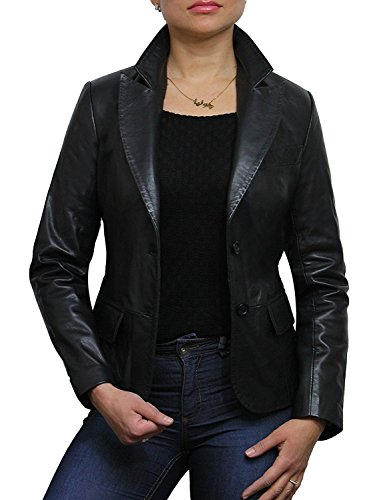 (Womens Leather Blazer Jacket Real Lamb Skin Coat Design (Large 12))