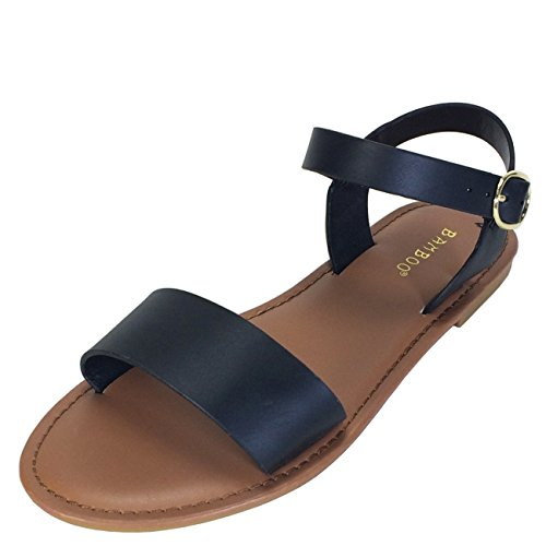 Image of BAMBOO Women's Single Band Flat Sandal with Quarter Strap