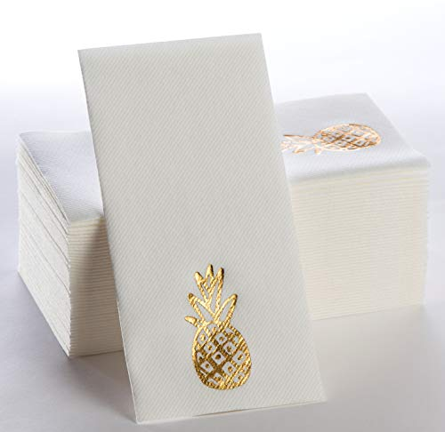 Gold Napkins | Disposable Paper Napkins with Foiled Pineapple | Linen-Feel Guest Towel | Soft, Comfortable Dinner…