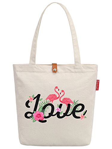 So'each Women's Love Flamingo Graphic Top Handle Canvas Tote Shoulder Bag