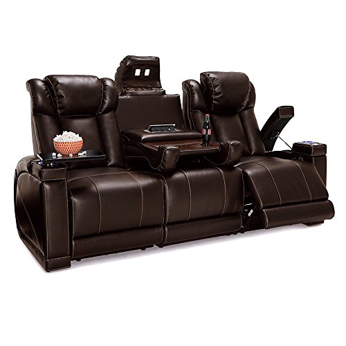 Lane Sigma Leather Gel Home Theater Power Recline Multimedia Sofa with Fold-Down Table (Brown) (Furniture Lane Leather)