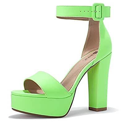IDIFU Women's IN5 Sabrina Ankle Strap Platform High Chunky Heels Party Sandal (5, FLUORESCENTGREEN)