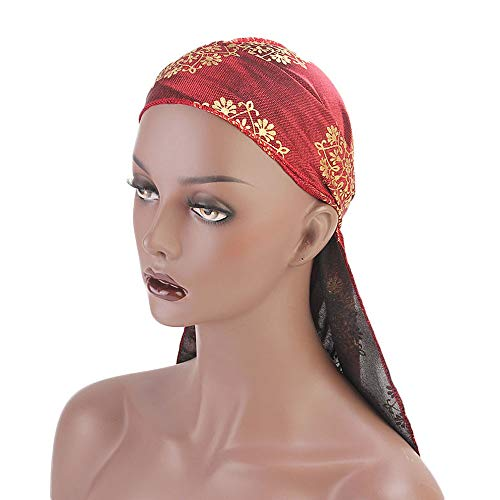 Pirate Cap, ZTY66 Fashion Retro Print Scarf Wrap Hat Turban Brim Hat Cap Pile Cap Head Covers for Women Men (Red) by ZTY66_Hats (Image #4)