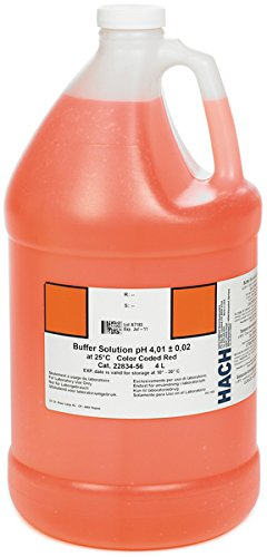 Hach 2283456 Buffer Solution, pH 4.01 (NIST), color-coded red, 4L