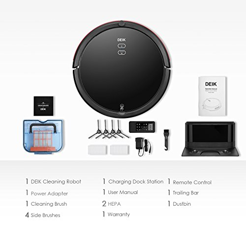 DEIK Robotic Cleaner with Schedule Cleaning, Self-Charging, Filter, for Hair, Floor