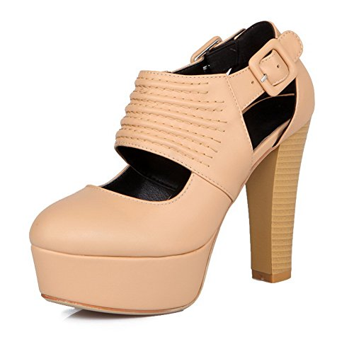 Soft PU Closed Heel apricot Toe Platform High Heels Sandals Material Solid VogueZone009 Womens Round Chunky Twznfavq