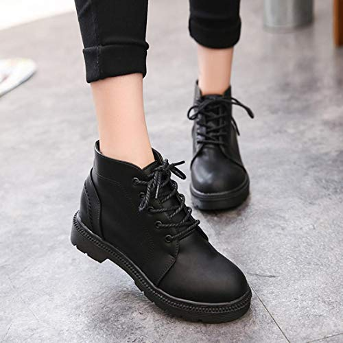 5cf46c5877f6 Gyoume Women Ankle Boot Lace-up Low Heel Boots Shoes Platform Martin Boots  Autumn Winter