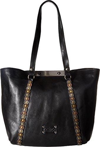 Embossed Front Pocket Tote Handbag (Patricia Nash Women's Benvenuto Tote Black 1 One Size)
