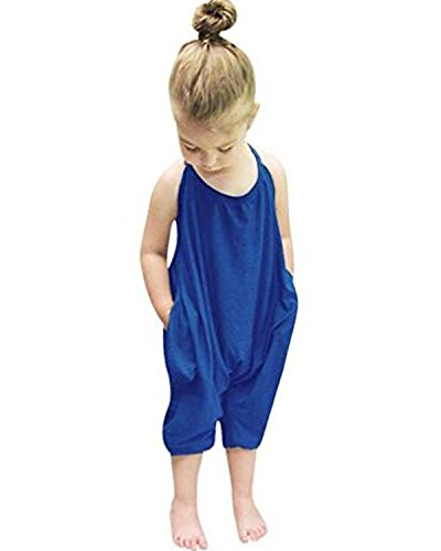 Straps Rompers Jumpsuits for Girl Baby Childs Cotton Plain Harem Pants Trousers Sleeveless Backless Soft Cute Summer Beachwear Party Vacation Birthday Trips Travel Size fit Blue 5-6 Years