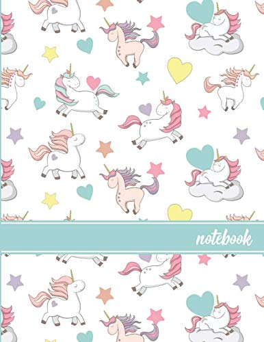Notebook: Unicorn Pattern (1) Teal Blue Banner Standard Dot Grid Paper
