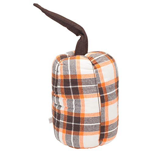 Honey and Me Tall Pumpkin with Stem Fall Plaid 11 x 7 Soft Flannel Harvest Throw Pillow ()