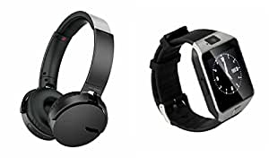 MIRZA Extra Bass XB650 Headphones & DZ09 Smart Watch for REDMI 2(XB 650 Headphones,With MIC,Extra Bass,Headset,Sports Headset,Wired Headset & Bluetooth DZ09 Smart Watch Wrist Watch Phone with Camera & SIM Card Support Hot Fashion New Arrival Best Selling Premium Quality Lowest Price with Apps like Facebook, Whatsapp, Twitter, Sports, Health, Compatible with Android iOS Mobile Tablet-Assorted Color)
