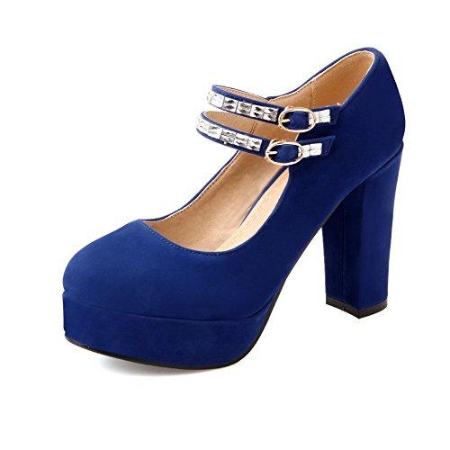 AllhqFashion Mujeres Tacón ancho Sólido Hebilla Puntera Redonda Cerrada De salón con Diamante Azul
