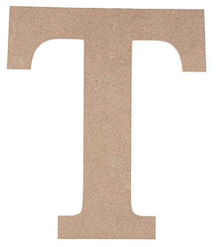 Wooden Greek Letter - Unfinished Wood Letter T for Tau, Paintable Greek Font for DIY, Home, College, Sorority, Fraternity Decoration, 10 x 11.625 x 0.25 inches