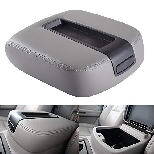EDBETOS GM Center Console Lid Armrest Cover Kit for 2007-2014 GMC Sierra Yukon XL 1500 2500 Chevy Avalanche Silverado Suburban Chevrolet Tahoe 2500HD 3500HD LT LS LTZ Z71 Replace OEM 15217111 (Gray)