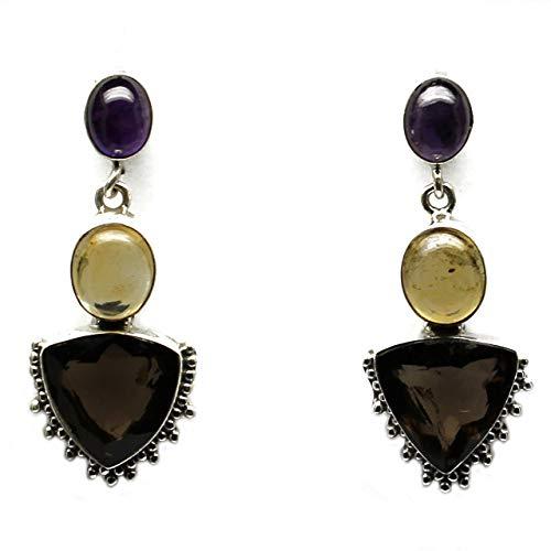 (Highly Crystallized Smoky Quartz Solid 925 Sterling Silver Dangler Earring Women)