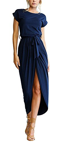 GUXXON Women's Casual Short Sleeve Front Slit Crew Neck Chic Long Maxi Dress Belted