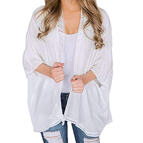 TOPUNDER Kimono Jacket Cardigan for Women Ladies Lace Open Cape Casual Coat ()