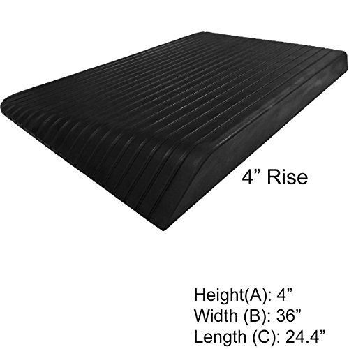 "4"" Rise Rubber Power Wheelchair Scooter Threshold Ramp"