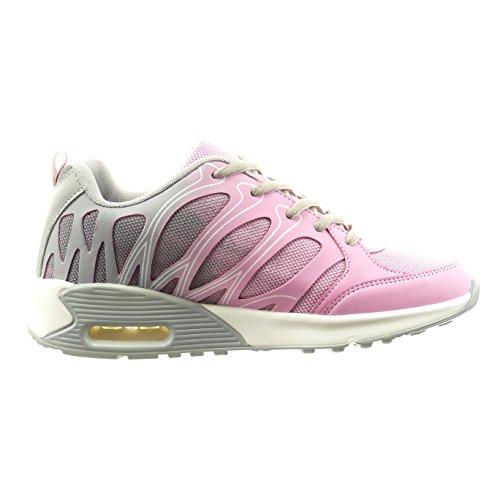 Sopily - damen Mode Schuhe Sneaker Linien - Grau
