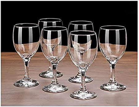Hs&sure Conjunto de 6 Copas de Vino Tinto, Copa de Vino Tinto de Cristal Transparente sin Plomo, Indestructible, Adecuado para Fiestas y hogar. (Size : 295 ML-1)