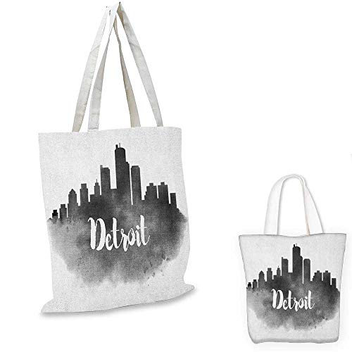 (Detroit shopping tote bag Smoky City Skyline with Brushstrokes Hand Written Style Letters Buildings travel shopping bag Charcoal Grey White. 16