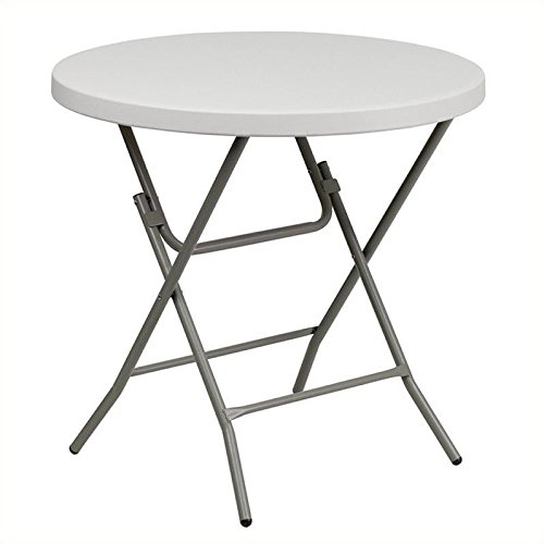 Flash Furniture 32'' Round Granite White Plastic Folding Table -