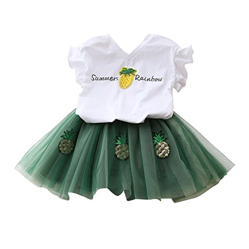 Weixinbuy Kid Girl V Neck Short Sleeve Tops Pineapple Tutu Skirts Clothing Sets by Weixinbuy