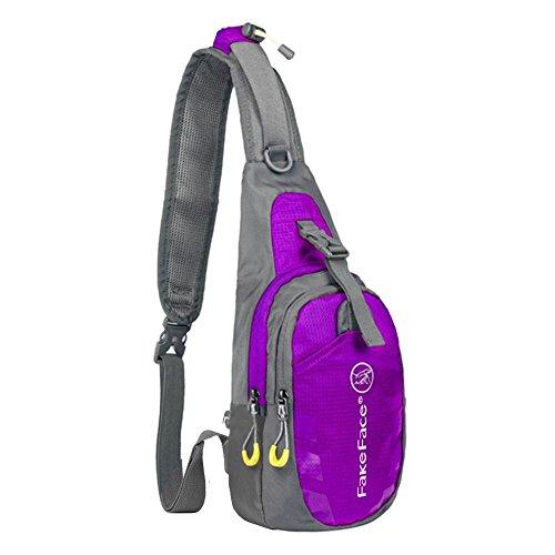 FakeFace Neu Unisex Umhängetasche Bauchtasche Oberarmtasche Hüfttasche Geldbeutel Sport Tasche Body Bag Lila